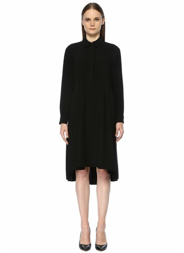 Beymen Collection Yanları Pile Detaylı Midi Krep Gömlek Elbise Siyah